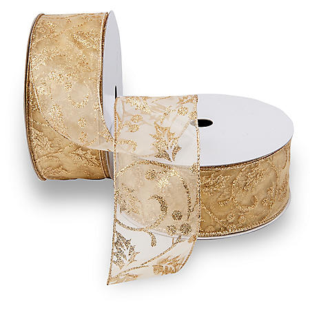 Premium Wired Ribbon, Gold Holly - 2 pack (50 yds. each)