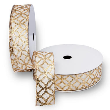 Premium Wired Satin Ribbon, Ivory Satin Ribbon with Gold, Glitter Medallions & Gold Edge - 2 pack (50 yds. each)