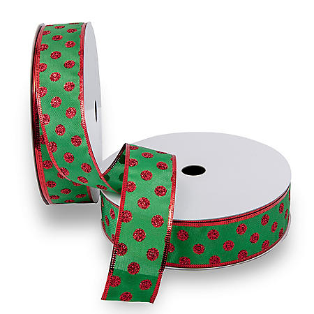 Premium Wired Satin Ribbon, Green Satin & Printed Red Dots with Red Edge - 2 pack (50 yds. each)
