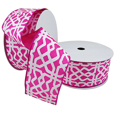 "2 Pack Premium Satin with Wire Sewn Edge Ribbon -  Lattice Pattern in White on Pink Satin with Pink (2.5"" x 50 yds. each 100 yds. total)"