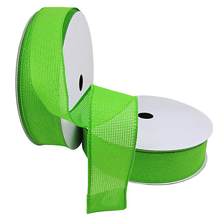 """2 Pack Premium Satin with Wire Ribbon - Lime (1.5"""" x 50 yds. each 100 yds. total)"""