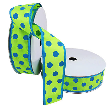 """2 Pack Premium Satin with Wire Ribbon - Blue and Lime Polka Dot (1.5"""" x 50 yds. each 100 yds. total)"""