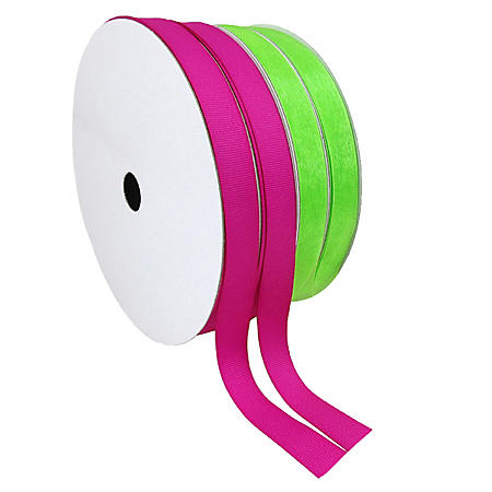 """2 Pack Premium Ribbon - Pink Woven Solid and Lime Sheer (5/8"""" x 100 yds. each 200 yds. total)"""