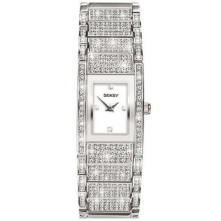 Seksy Rhodium Plated Bracelet Watch