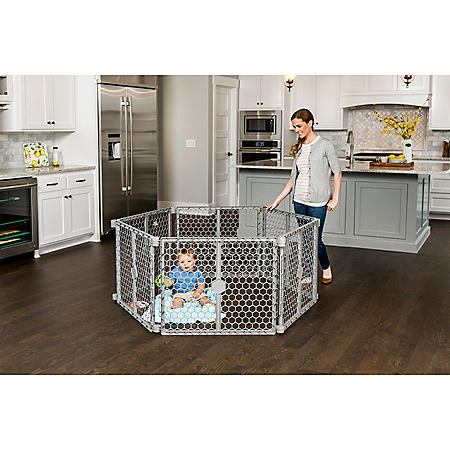 Regalo 2-in-1 Play Yard and Safety Gate, Gray