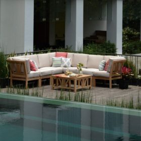 8-Piece Teak Sectional Sofa Set, Various Colors