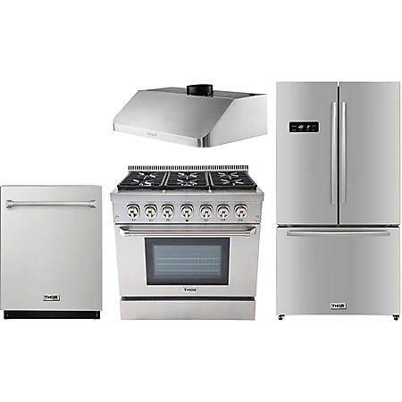 "Thor Kitchen Premium Series 36"" Gas / Dual Fuel Range, 36"" Counter Depth Refrigerator, 36"" Under Cabinet Range Hood, and 24"" Dishwasher Bundle in Stainless Steel (CHOOSE: Fuel Type)"