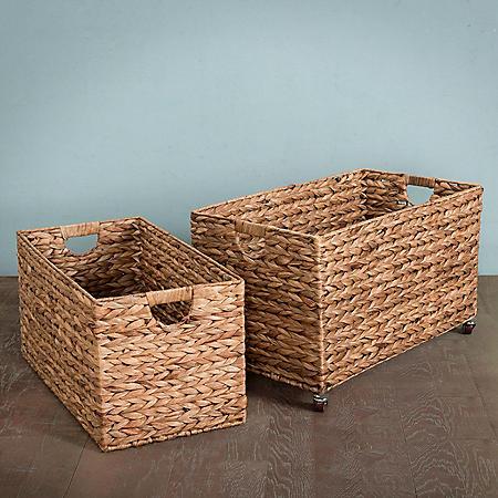 Hand-Woven Nesting Baskets, 2 Piece Set