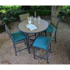 Woodbridge 5 Piece High Dining Set With Premium Sunbrella Fabrics