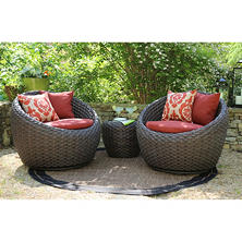 Corona 3 pc. Deep Seating Set with Premium Sunbrella® Fabric, Choice of Color