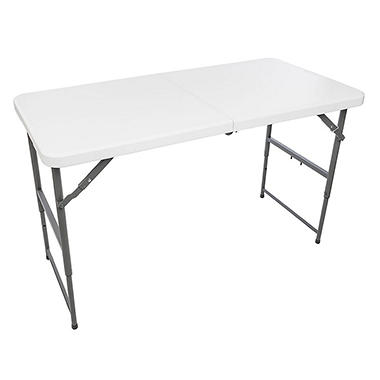 Maxchief 4u0027 Adjustable Height Fold In Half Table   White