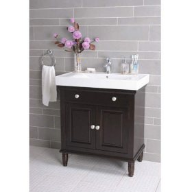 Vanity With White Porcelain Sink And Top