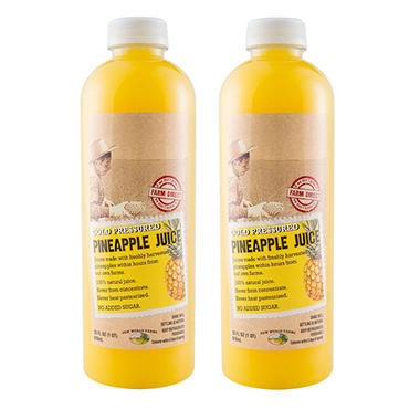 New World Farms All Natural Pineapple Juice (33 oz. bottles, 2 pk.)