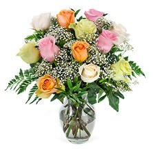 Mixed Pastels Rose Bouquet (choose stem count)