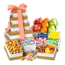 Spring Fresh Fruit & Gourmet Sweets Gift Tower