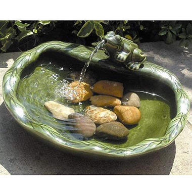 Ceramic Solar Frog Fountain