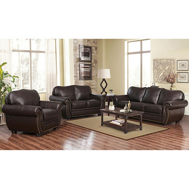 Best Seller Sophie Top Grain Leather Sofa, Loveseat And Armchair Set Part 57