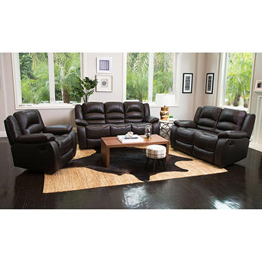 Verona Top-Grain Leather Reclining Sofa Loveseat and Chair Set  sc 1 st  Samu0027s Club : brown leather reclining couch - islam-shia.org
