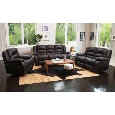 Verona Top Grain Leather Reclining Sofa, Loveseat And Chair Set