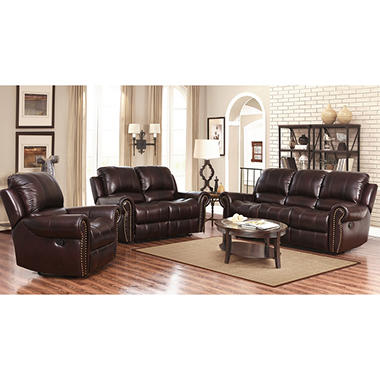 Bentley Top Grain Leather Recliner Sofa, Loveseat And Armchair Set