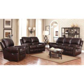 Bentley Top-Grain Leather Recliner Sofa, Loveseat and Armchair Set