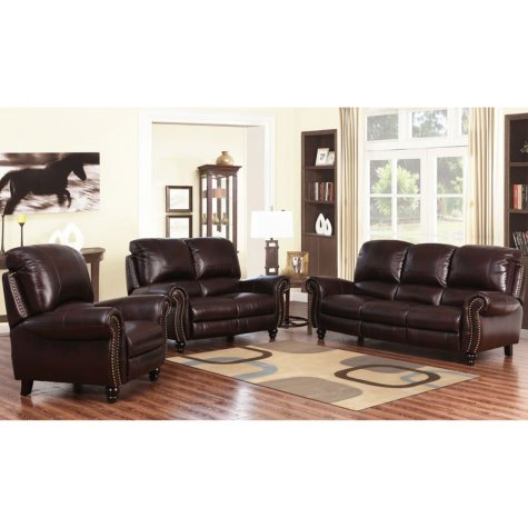 Taylor Top-Grain Leather Reclining Sofa, Loveseat and Armchair Set