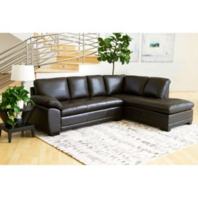 Westbury Top Grain Leather Sectional Brown