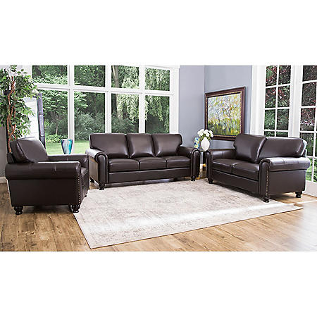 Maverick Top-Grain Leather Sofa, Loveseat and Armchair Set ...