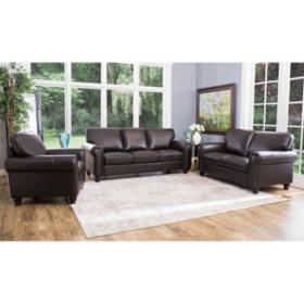 Maverick Top-Grain Leather Sofa, Loveseat and Armchair Set