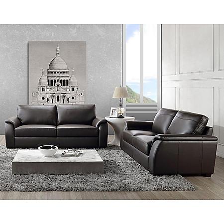 Montclair Top-Grain Leather Sofa and Loveseat Set