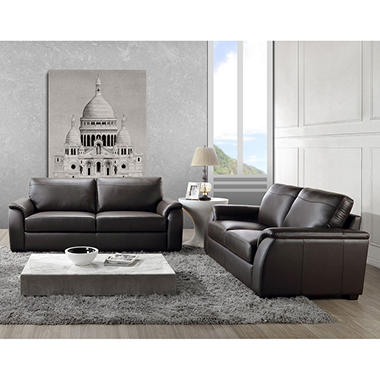 Montclair Top-Grain Leather Sofa And Loveseat Set - Sam'S Club