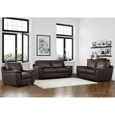 Mavin Top-Grain Leather Sofa, Loveseat And Armchair Set - Sam'S Club