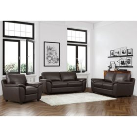 Mavin Top Grain Leather Sofa Loveseat And Armchair Set