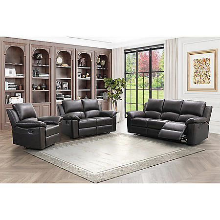 Terranova Top-Grain Leather Reclining Sofa, Loveseat and Armchair Set