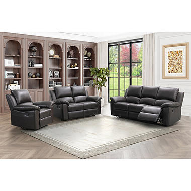 Terranova Top-Grain Leather Reclining Sofa Loveseat and Armchair Set  sc 1 st  Samu0027s Club & Terranova Top-Grain Leather Reclining Sofa Loveseat and Armchair ... islam-shia.org
