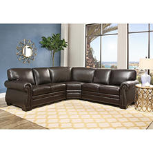 Blakely Top-Grain Leather Sectional  sc 1 st  Samu0027s Club : 100 top grain leather sectional - Sectionals, Sofas & Couches