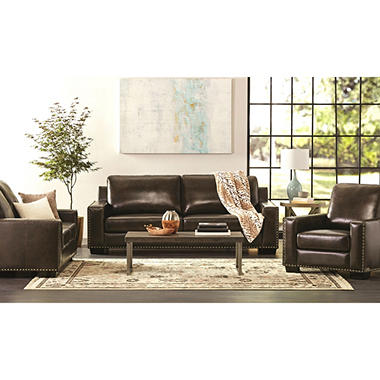 Brighton Hand-Rubbed Top-Grain Leather Sofa, Loveseat, and Armchair Set
