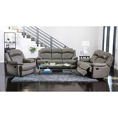 Hamptons Top-Grain Leather Reclining Sofa, Loveseat and Chair Set ...