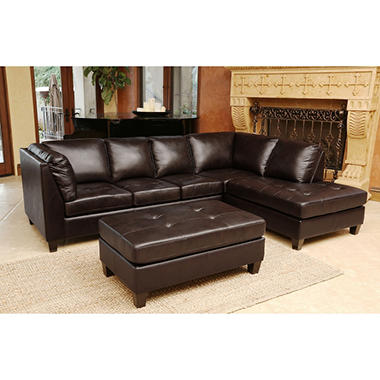 Catherine Top Grain Leather Sectional and Ottoman Sam s Club
