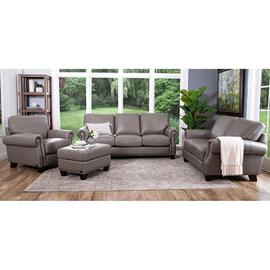 Helena Top Grain Leather Sofa Loveseat Armchair And Ottoman Set