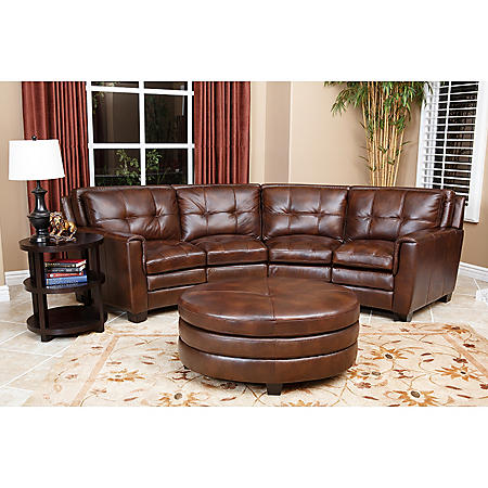 Boston Top-Grain Leather Sectional and Ottoman