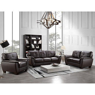 Liston Top-Grain Leather Sofa, Loveseat And Armchair Set - Sam'S Club