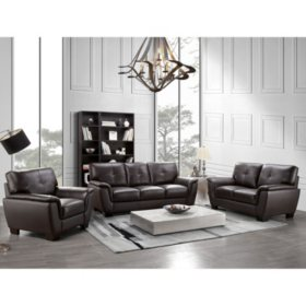 Liston Top Grain Leather Sofa Loveseat And Armchair Set