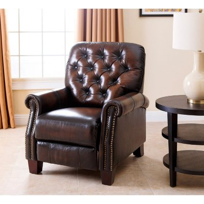 Jacobs Top Grain Leather Pushback Recliner