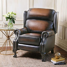 Mowen Top-Grain Leather Pushback Recliner