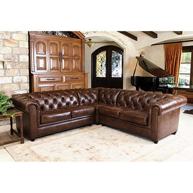 Barcelona Top Grain Leather 3 Piece Sectional Sofa