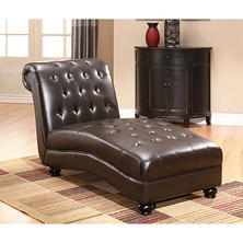 Charles Tufted Leather Chaise