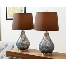 Reese Mosaic Glass Table Lamp, Set of 2