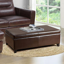 Palmer Leather Storage Ottoman with Flip Top