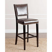Laurel Brown Leather Bar Stool